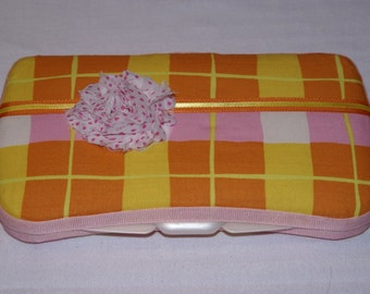Pink and Orange Plaid Fancy Baby Wipe Case