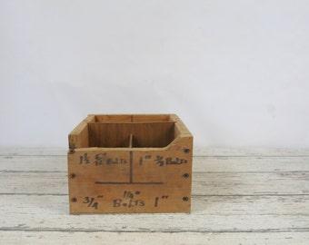 Vintage Divided Wood Box Wood Box Storage Bolt Storage Box Vendors Display Box
