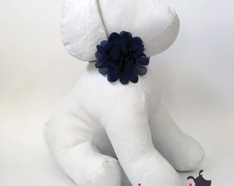 Navy Blue LILY Flower Collar Accessory