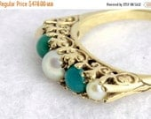 VALENTINES DAY SALE Victorian Turquoise Pearl Ring 1900 European Filigree 9ct 9kt Yellow Gold Wedding Band Stacking Ring Downton Abbey Style