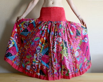 Long skirt - Gypsy Skirt - Patchwork Maxi Skirt - Peasant Skirt by Chandrika Shop - Pink multicolored skirt