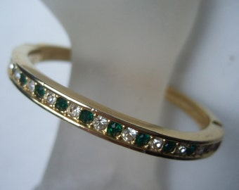 Elegant Streamlined Emerald Diamante Crystal Bracelet