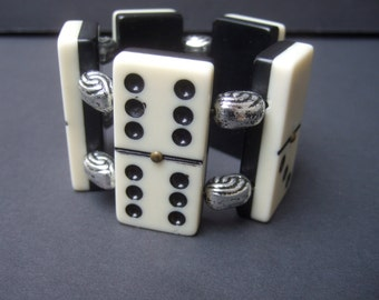 Unique Wide Domino Cuff Bracelet