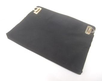 FERRAGAMO Black Cloth Cluth Bag (Genuine)