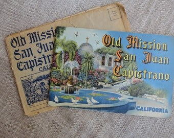 Vintage Mission San Juan Capistrano Souvenir Book 1949 Color Illustrations