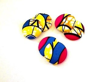 Button Fab - African Wax Print Fabric ButtonEarrings (Studs also available)