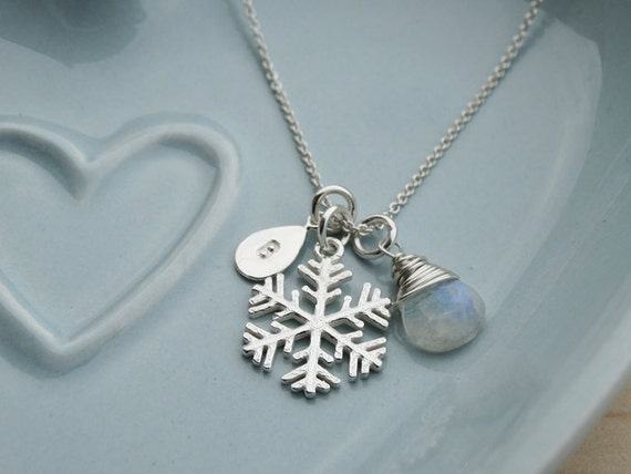 Personalised Silver Snowflake Necklace With Rainbow Moonstone - Sterling Silver