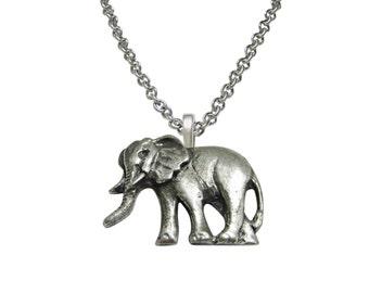 Textured Elephant Pendant Necklace