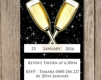 Cocktail Party Personalised Ticket Style Birthday Invitations - YOU PRINT