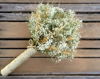 Simple Summer Wheat & Baby's Breath Bouquet, Small Bridal Bouquet or Bridesmaid - Dried Wedding Bouquet - Wheat, Baby's Breath, Customizable