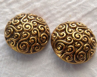 2 Antiqued Gold Color Curlicue Design Metal Buttons,28 mm,All-Over Scrolls,Rounded Convex,Self Shank,Gold on Dark Background,Dill Co.,German