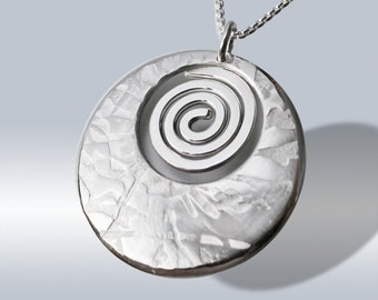 Boho Spiral Silver Pendant, Sterling Silver Abstract Jewellery