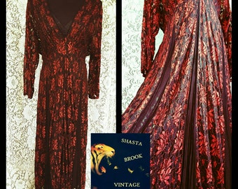 VTG 90s Long Red and Black Lace Dress - Cotton Slip - Sheer Lace Gypsy Boho Dress - Back Tie - LOLA P Tags Never Worn - Womens XL Plus Size