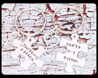 Personalized Hand Stamped You're My Person Puzzle Piece Keychain Set Great Wedding Gift or Anniversary
