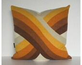 "Retro Cushion Cover Original Vintage 70s Fabric Orange Yellow Brown 18"" x 18"""