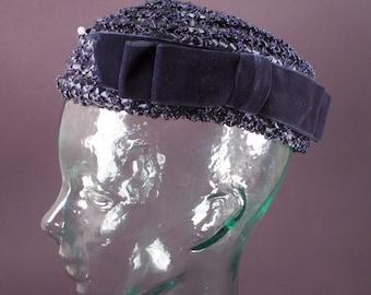 Vintage Straw Hat, Pill Box Style, Navy Classic, Preppy, Spring Fashion Church Hat