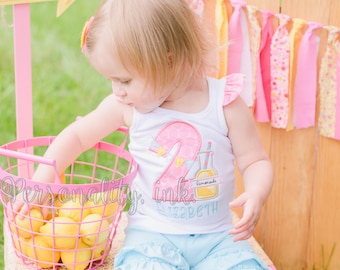 Pink Lemonade Birthday Shirt - First Birthday Shirt - Girls lemonade Personalized Bodysuit - Girls lemonade shirt