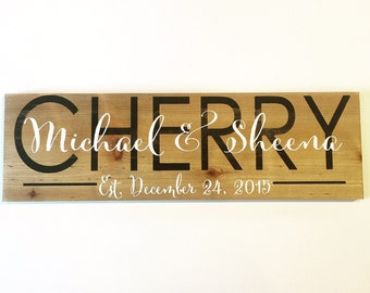 Personalized family sign. Established plaque. Modern decor.