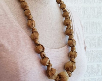 Silk Fabric Necklace - Gold Tone Nursing Necklace, Teething Baby Safe Accessory, FREE Shipping, American Made