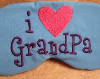 Embroidered Eye Mask, Sleeping, Cute Sleep Mask for Kids or Adults, Sleep Blindfold, Slumber Mask, Eye Shade, Love, Grandpa Design, Handmade