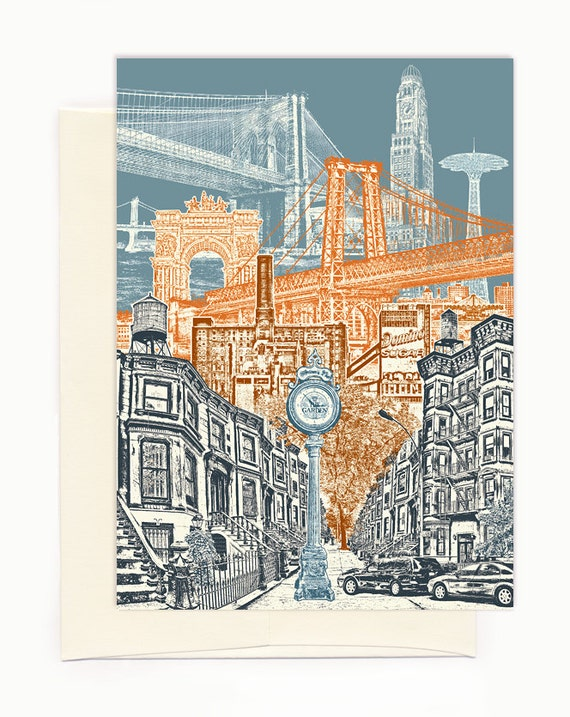 Layers of Brooklyn Notecard - full color - New York - folded Greeting Card - On Sale!!