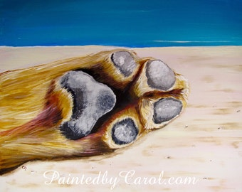 Dog Paw Print - Poolside Dog Paw by the Pool Acrylic Painting Print
