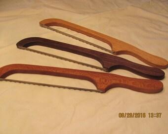 Bread Knife, Wooden Bread Knife, Wood Bread Knife, Bow Bread Knife, Fiddle Knife, Oak Bread Knife