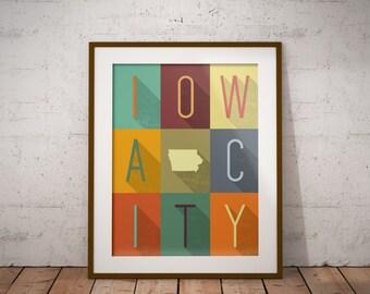 Iowa City, Iowa Grid - Typography Print