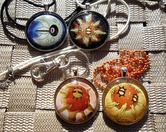 """The Original Sun and Moon - Lunatone and Solrock 1.5"""" Glass Pendant Charm made from Trading Cards"""
