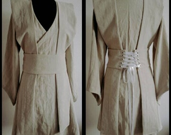 MADE TO ORDER: custom colours, linen Star Wars inspired Jedi robe, tunic, wrapdress costume cosplay larp pagan  pixie