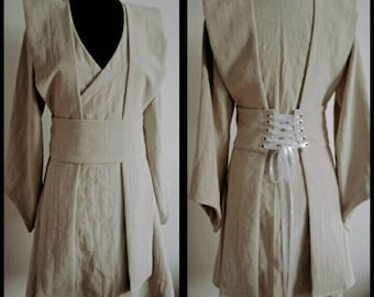 MADE TO ORDER:  linen Star Wars inspired Jedi robe, tunic, wrapdress costume cosplay larp pagan  pixie