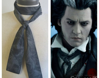 Upcycled Steampunk Clothing, Sweeney Todd Bow Tie Cravat, Victorian Charcoal Grey Bow Tie, Alice in Wonderland, Tim Burton