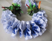 Hawaiian Ribbon Lei Plumeria White/Blue with Painted Red Flower Kui Kui Nut