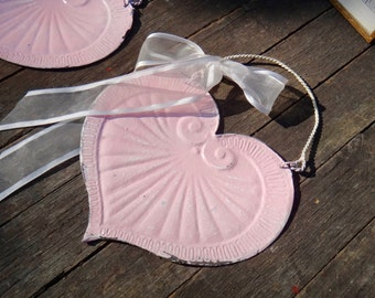 Pink Heart, Tin Heart, Pink Metal Heart, Door Hanger, Porch, Outdoor, Garden, Shabby Wall Decor, Cottage Chic, Pink, Heart, Casa Karma