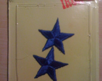 Two Blue Star Iron On Appliques by Joy-Patch A84