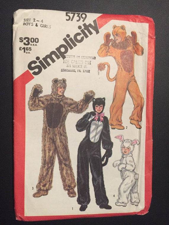 Simplicity Sewing Pattern 80s 7648 or 5739 Children's or Adults Cat, Bunny, Lion and Bear Costume Size2-4 or 40-42