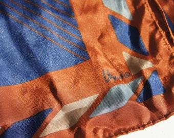 Vintage Vera Neumann Silk Scarf Blue and Brown