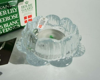Holmegaard Glass Water Lily Candle Holder Denmark in Original Box