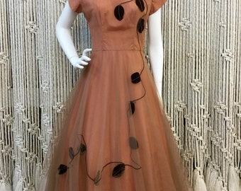 Gorgeous 1950's rose and chocolate tulle party dress with velvet leaves