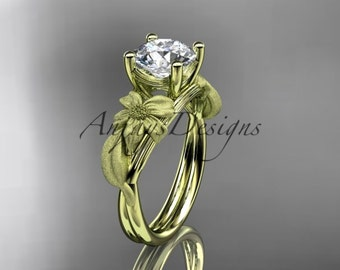 14kt yellow gold leaf and vine engagement ring ADLR189