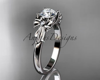14kt white gold diamond unique engagement ring, wedding ring ADER154