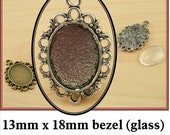 10 LACEYTrim Tibetan Style 13 x 18mm Charm Drop Bezel Setting, DIY-Optional 13 x 18mm Glass Domes (10), 13 x 18mm Seals -10 or 20