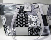 Black and Gray Yarn Tote Set with Needle Organizer Rolls and Stitch Markers,  Craft Project Bag