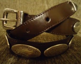 Vintage Boho Dark Brown Concho Ladies Women Waist Style Belt