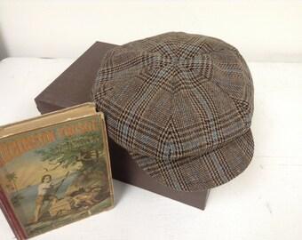 Brown,Blue plaid newsboy Hat ,brown plaid beret hat for little boys, photo prop for boys
