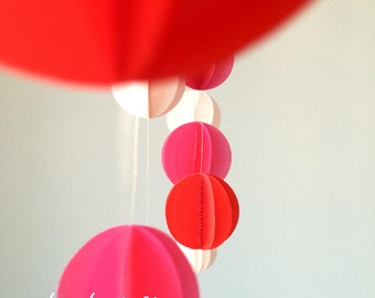 Paper Mobile, red, fuchsia pink & soft pink