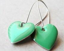 Dangle Drop Earrings - Dark Sea Foam Green Epoxy Enamel Hearts - Sterling Silver Plated over Brass (F-1)