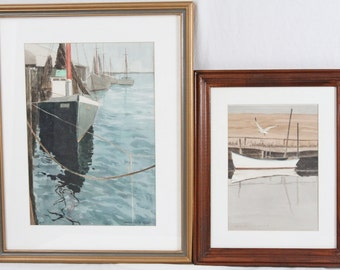 George A. Fish Listed Artist 14x20 Watercolor Painting Pair Nautical Boat Harbor New Jersey
