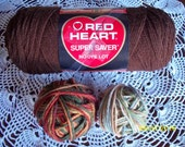 Red Heart Super Saver Acrylic Yarn - Autumn Lot, Buff Lot, Black or Varigated Blue