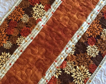 Fall Thanksgiving Table Runner Quilt, Fall Autumn Quilt, Orange, Brown, Quiltsy Handmade